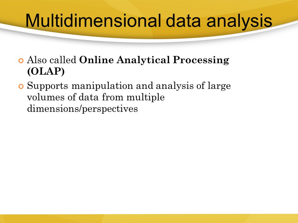 Multidimensional data analysis