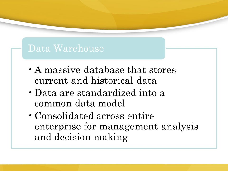 A massive database that stores current and historical data