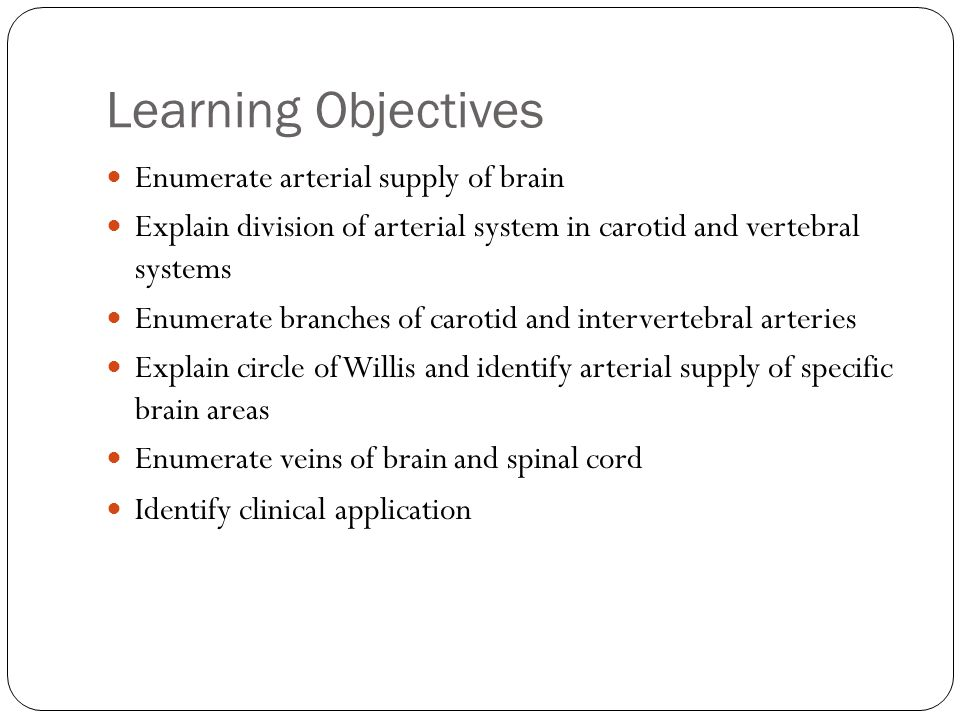 Learning Objectives Enumerate arterial supply of brain