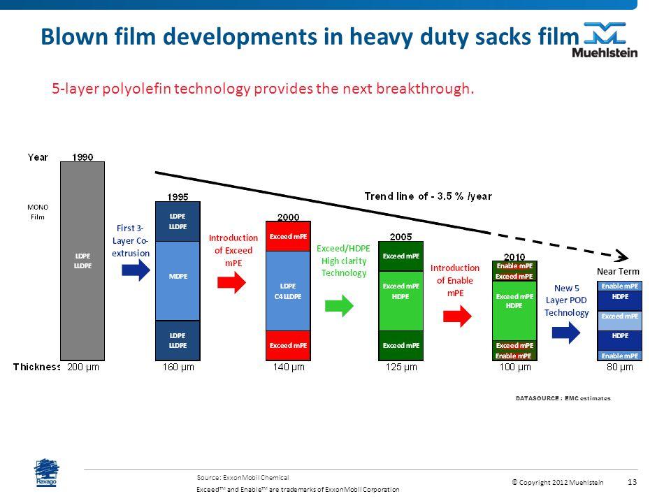 Blown film developments in heavy duty sacks film