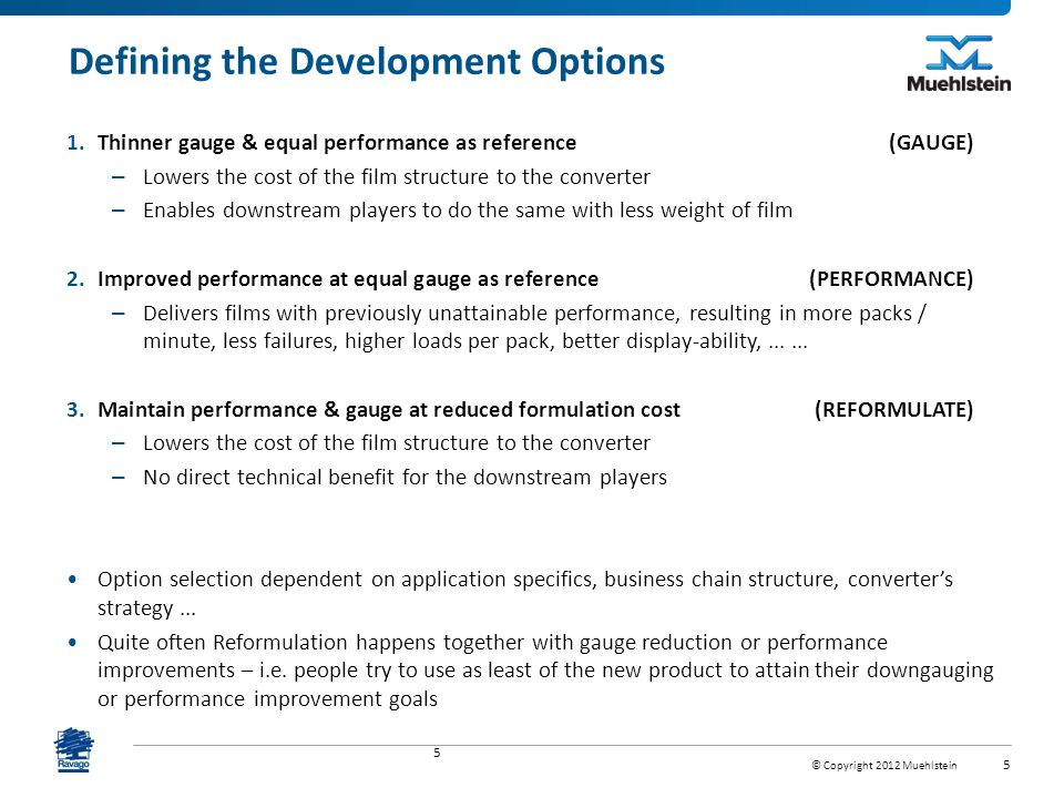 Defining the Development Options
