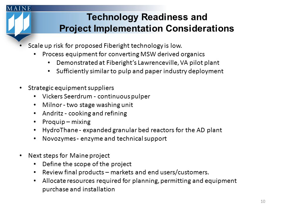 Technology Readiness and Project Implementation Considerations