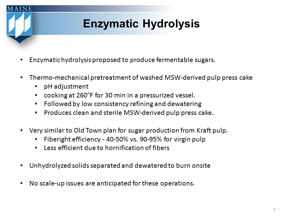 Enzymatic Hydrolysis Enzymatic hydrolysis proposed to produce fermentable sugars.