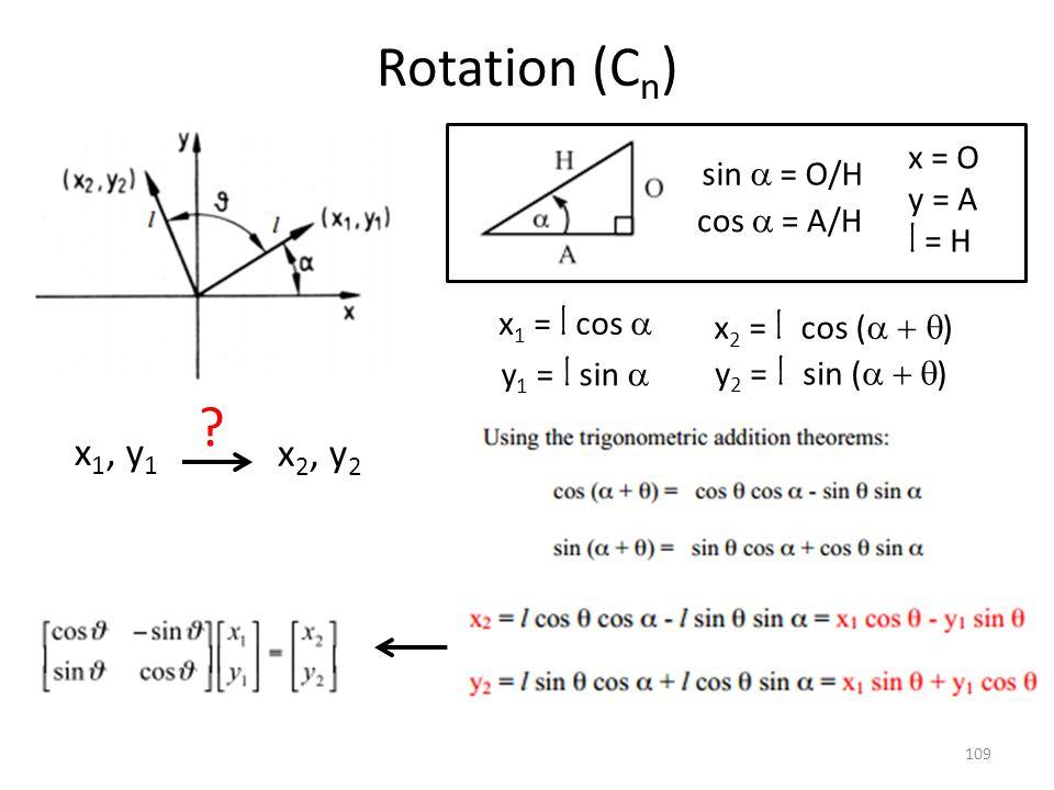 Rotation (Cn) x1, y1 x2, y2 x = O sin a = O/H y = A l = H