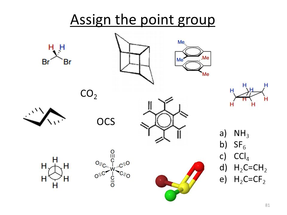 Assign the point group CO2 OCS NH3 SF6 CCl4 H2C=CH2 H2C=CF2