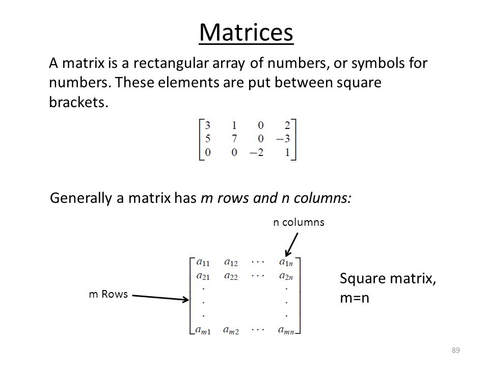 Matrices A matrix is a rectangular array of numbers, or symbols for numbers. These elements are put between square brackets.