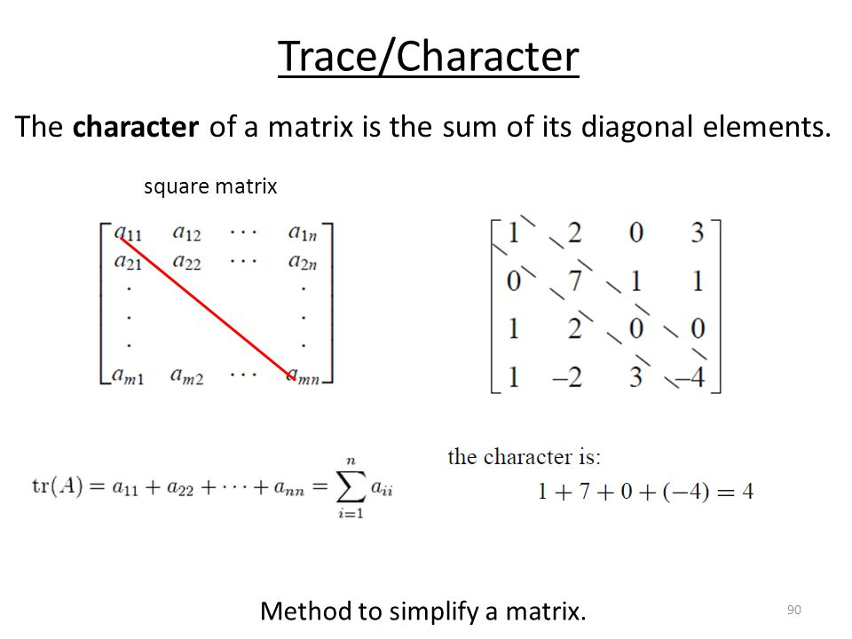 Trace/Character The character of a matrix is the sum of its diagonal elements.