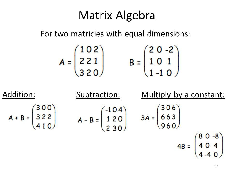 For two matricies with equal dimensions: