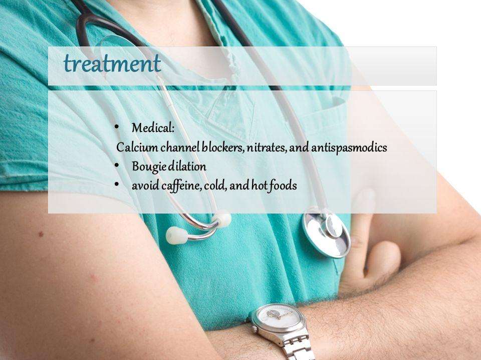 treatment Medical: Calcium channel blockers, nitrates, and antispasmodics.