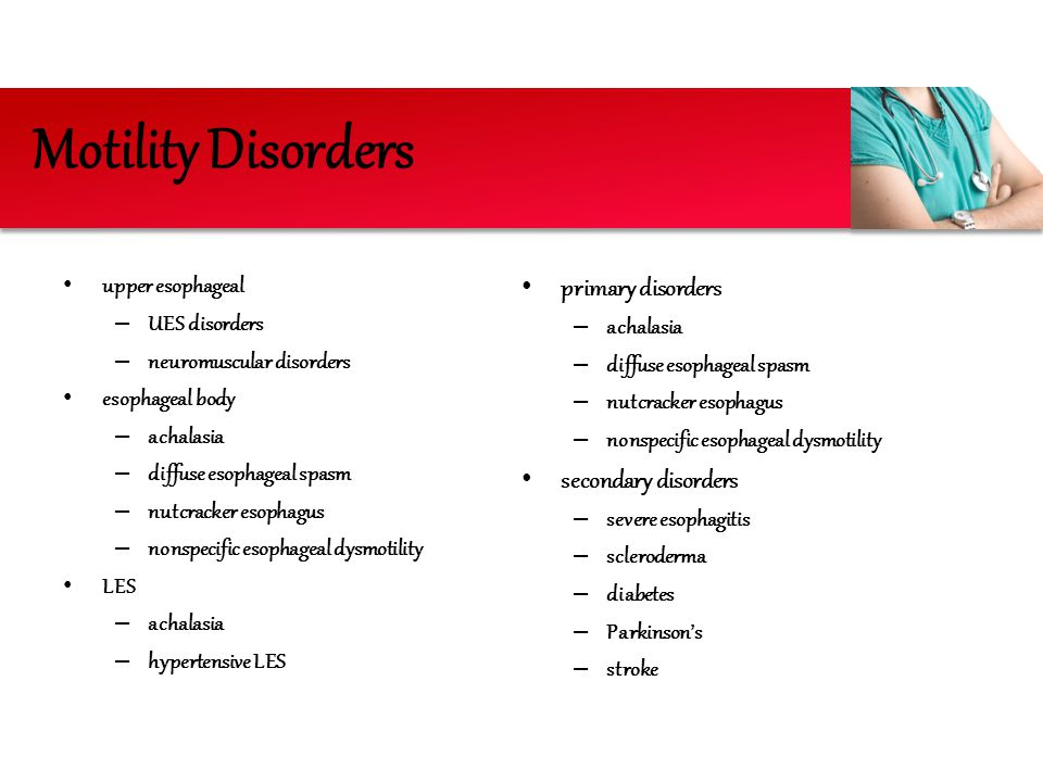 Motility Disorders primary disorders secondary disorders