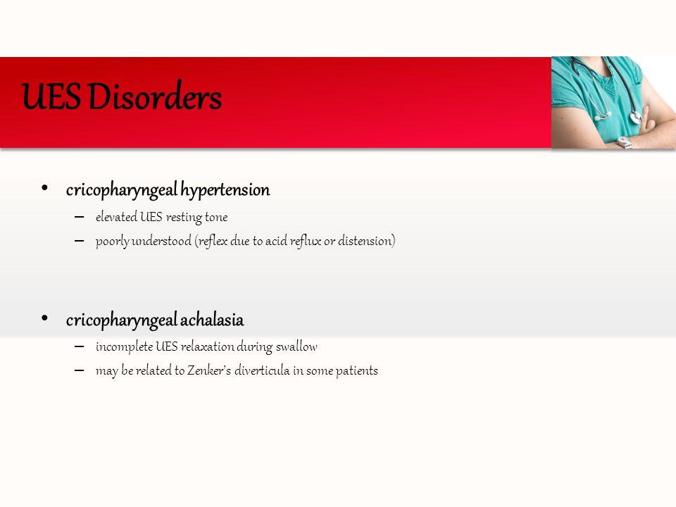 UES Disorders cricopharyngeal hypertension cricopharyngeal achalasia