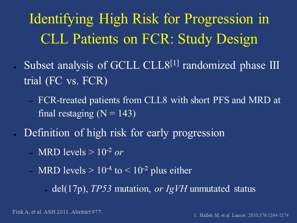 Identifying High Risk for Progression in CLL Patients on FCR: Study Design
