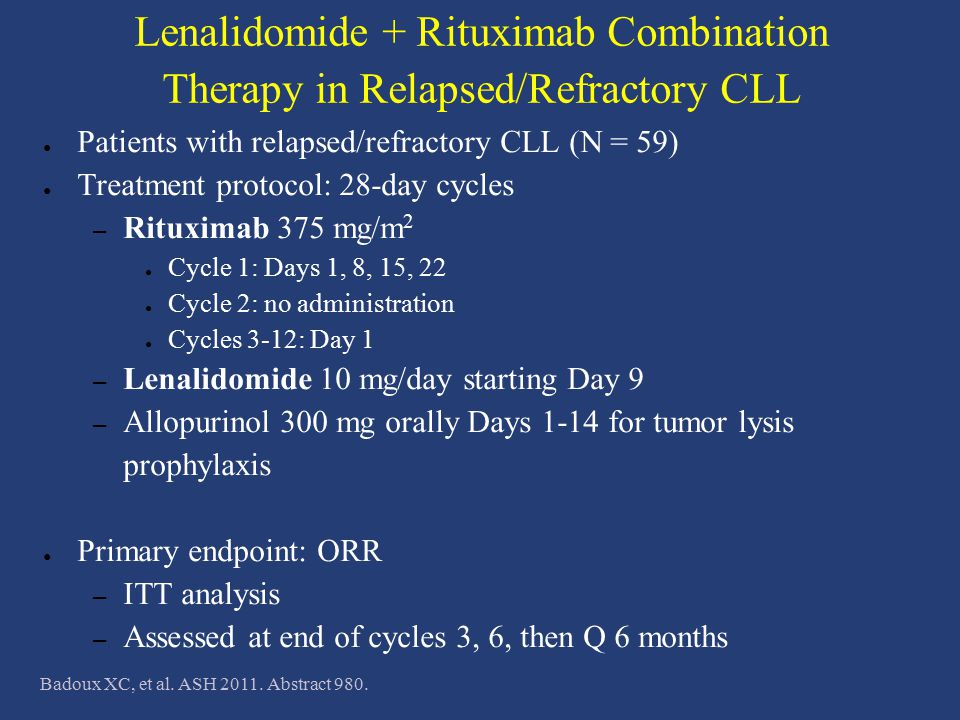 Lenalidomide + Rituximab Combination Therapy in Relapsed/Refractory CLL