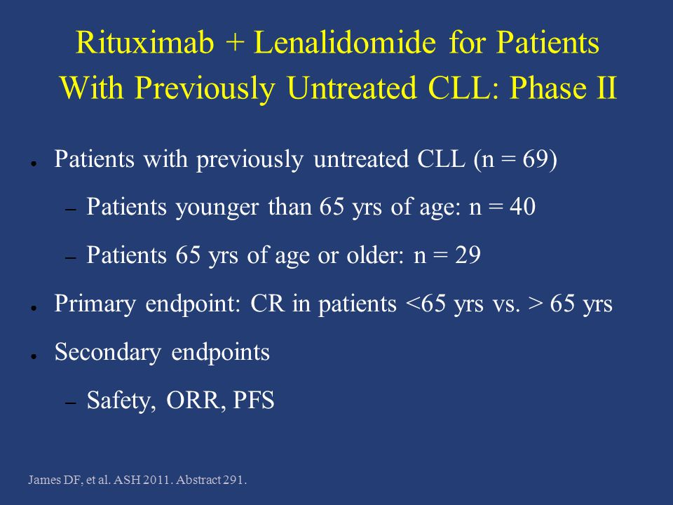 Rituximab + Lenalidomide for Patients With Previously Untreated CLL: Phase II