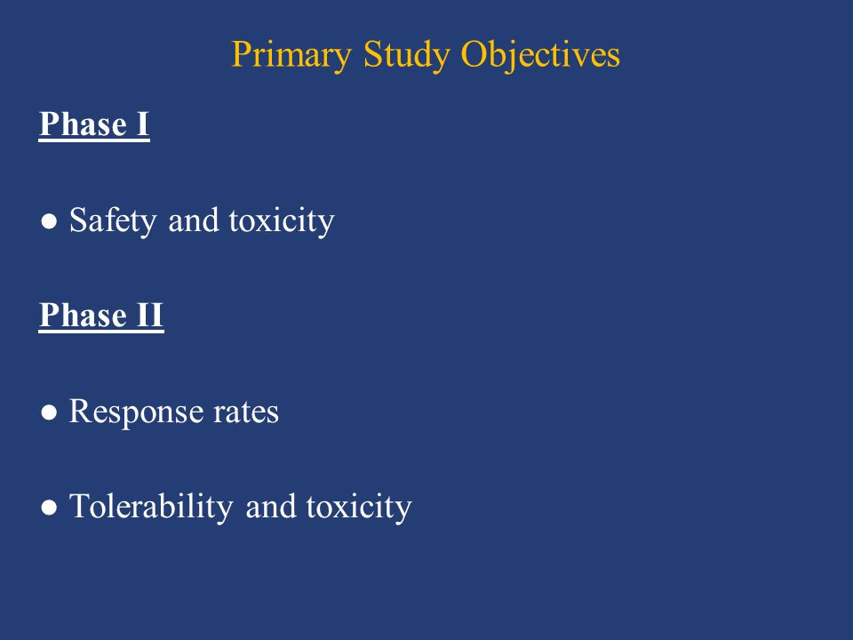 Primary Study Objectives