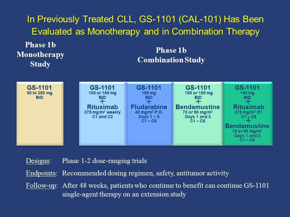 In Previously Treated CLL, GS-1101 (CAL-101) Has Been Evaluated as Monotherapy and in Combination Therapy