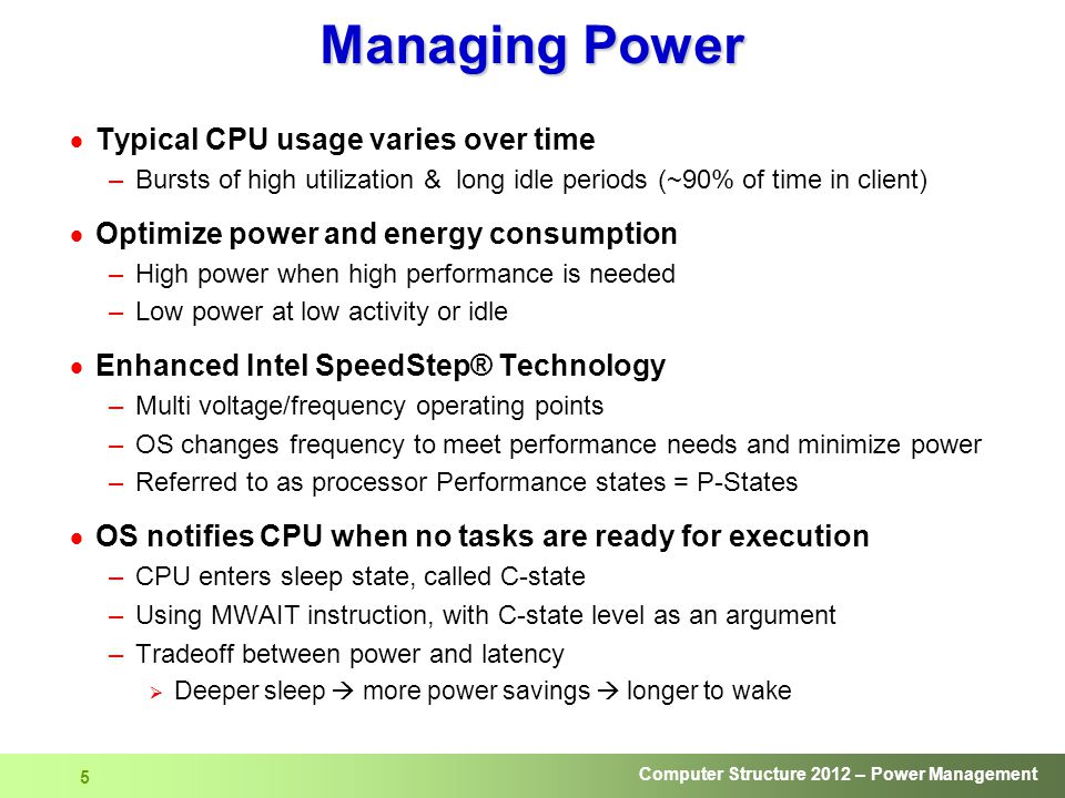 Managing Power Typical CPU usage varies over time