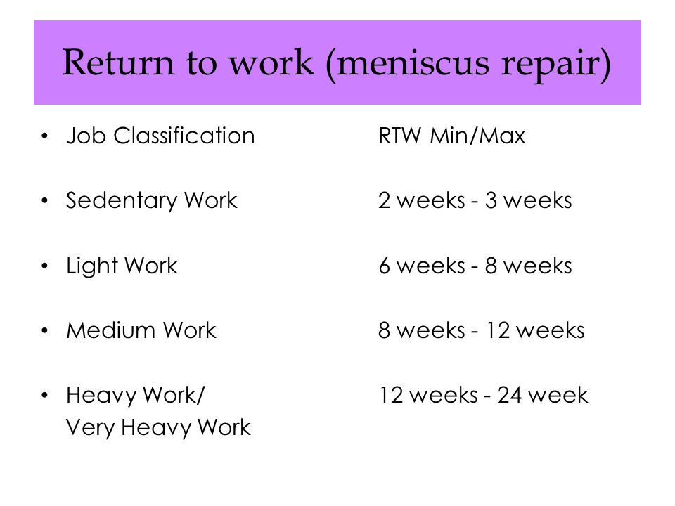 Return to work (meniscus repair)