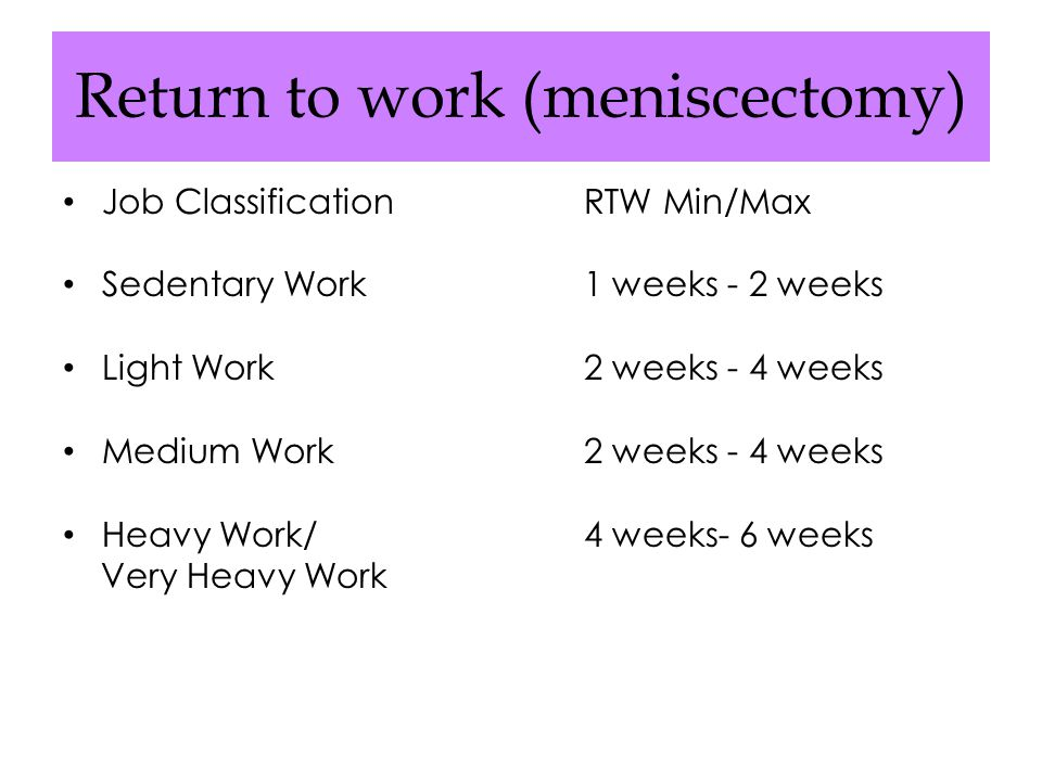 Return to work (meniscectomy)