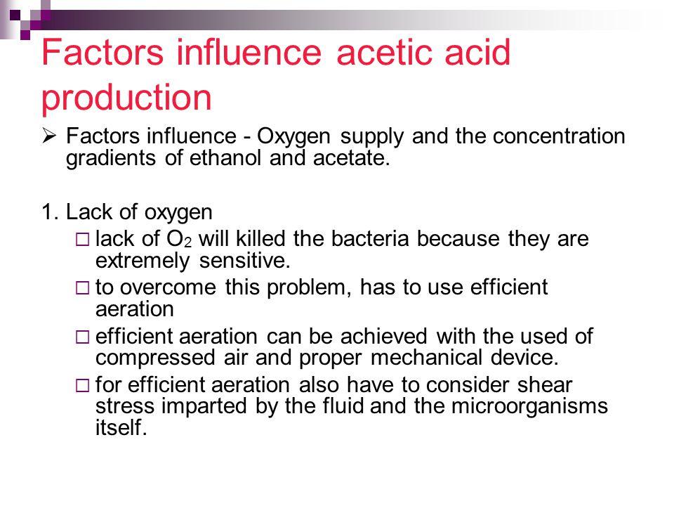 Factors influence acetic acid production