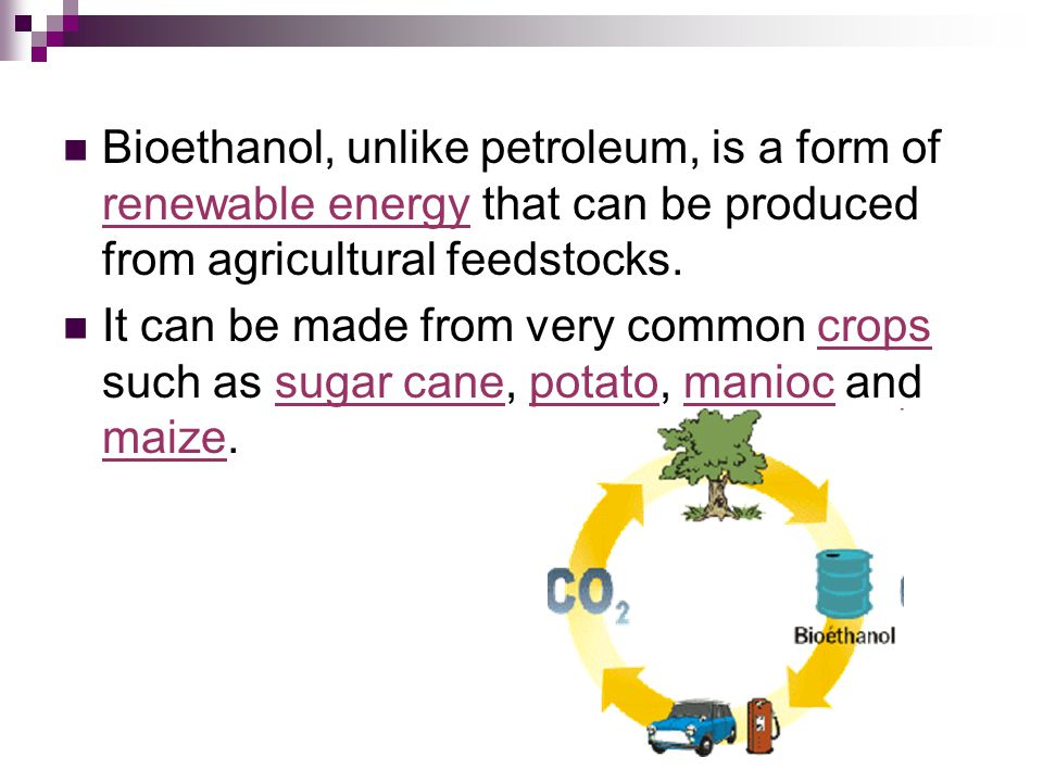 Bioethanol, unlike petroleum, is a form of renewable energy that can be produced from agricultural feedstocks.