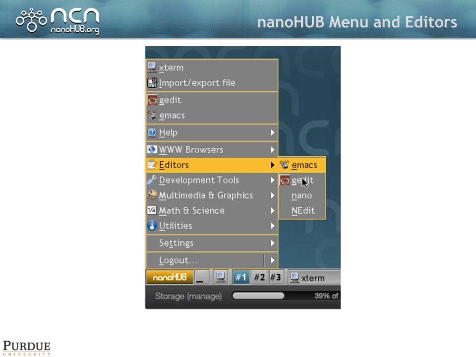 nanoHUB Menu and Editors