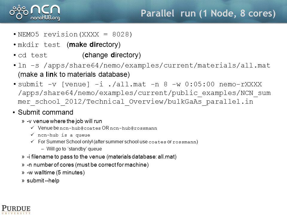 Parallel run (1 Node, 8 cores)