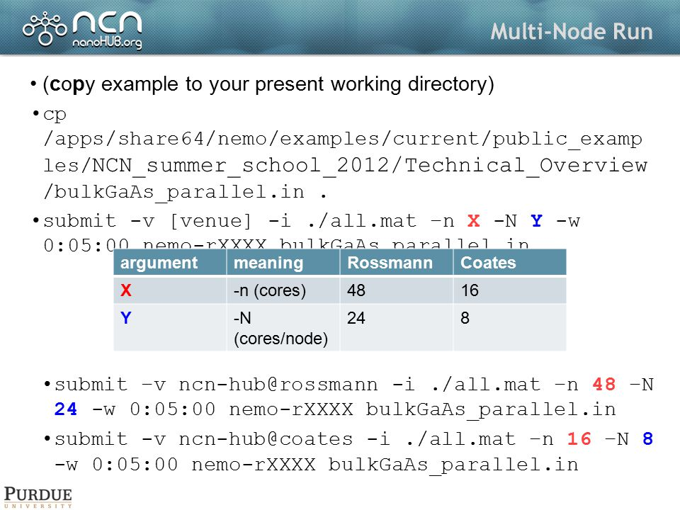 Multi-Node Run (copy example to your present working directory)