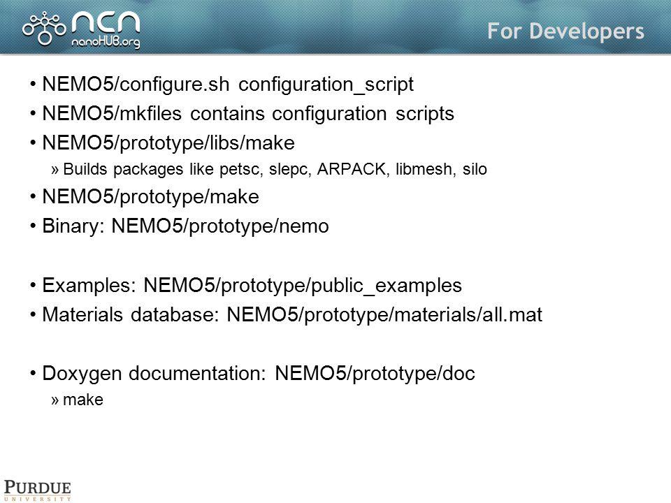 For Developers NEMO5/configure.sh configuration_script