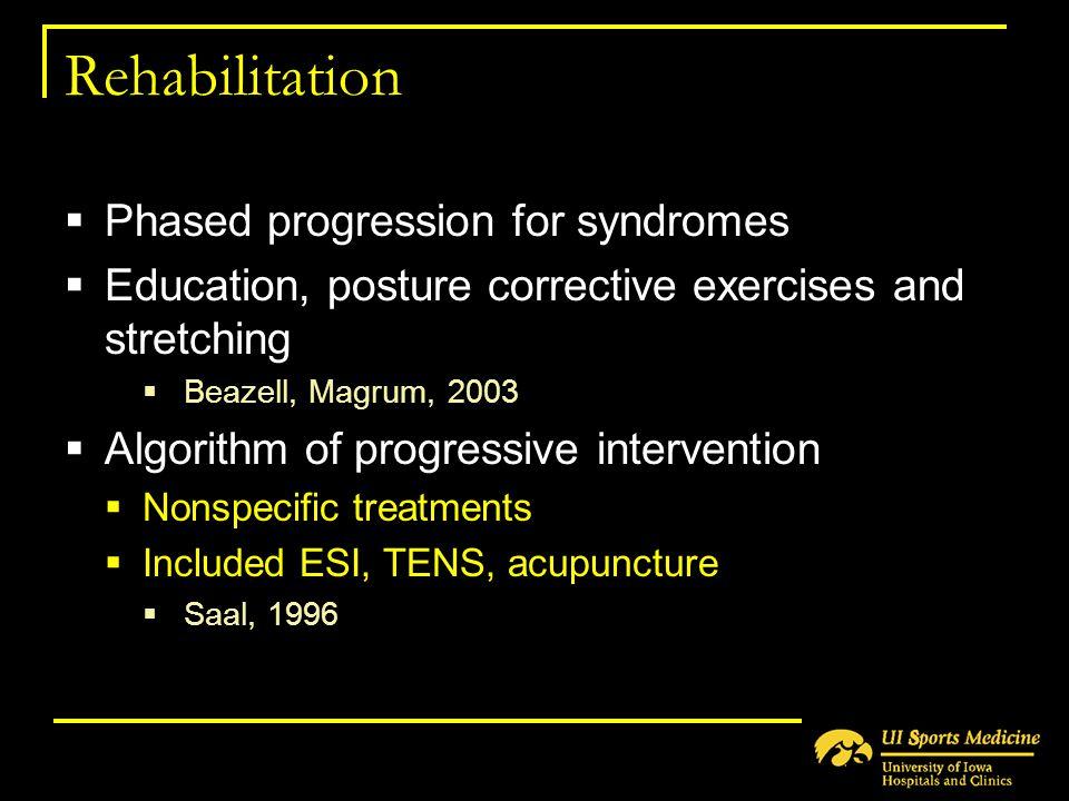 Rehabilitation Phased progression for syndromes