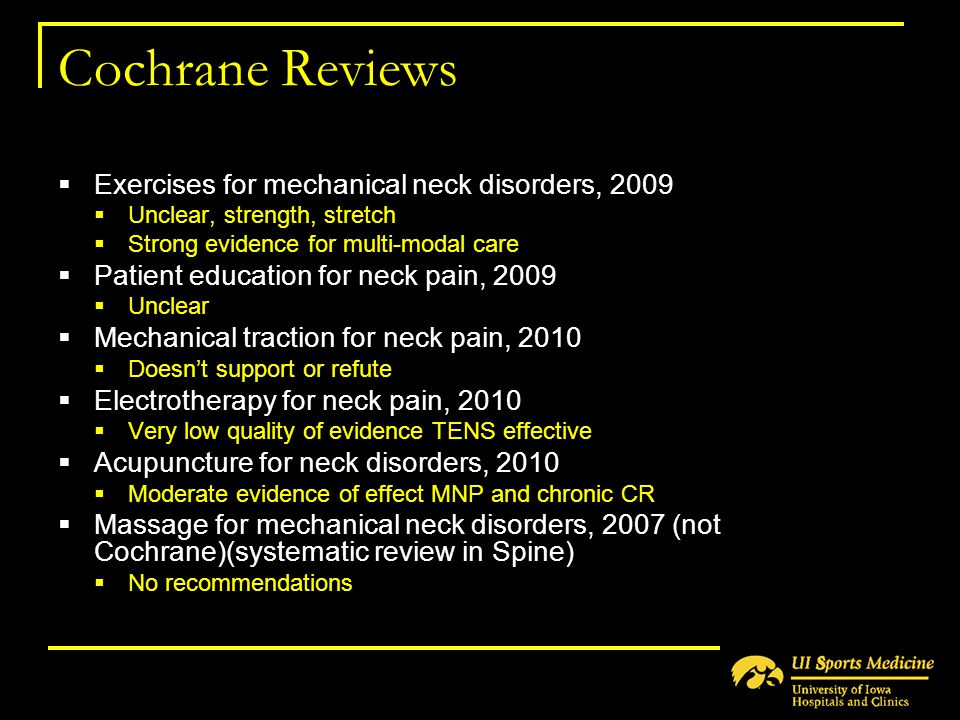 Cochrane Reviews Exercises for mechanical neck disorders, 2009