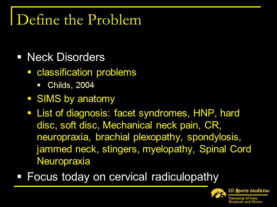 Define the Problem Neck Disorders