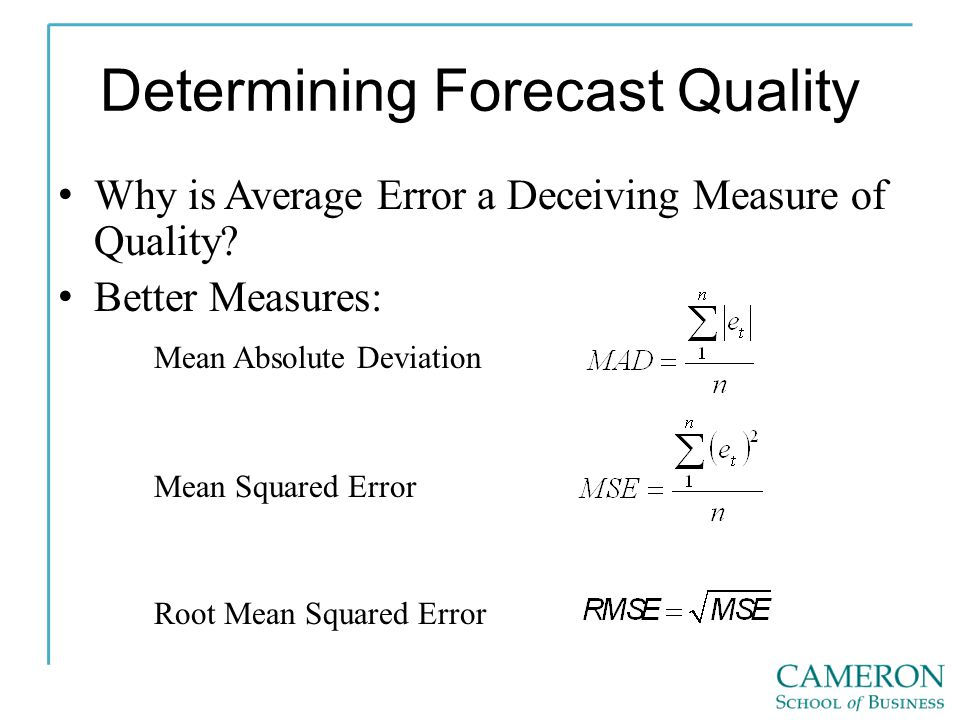 Determining Forecast Quality