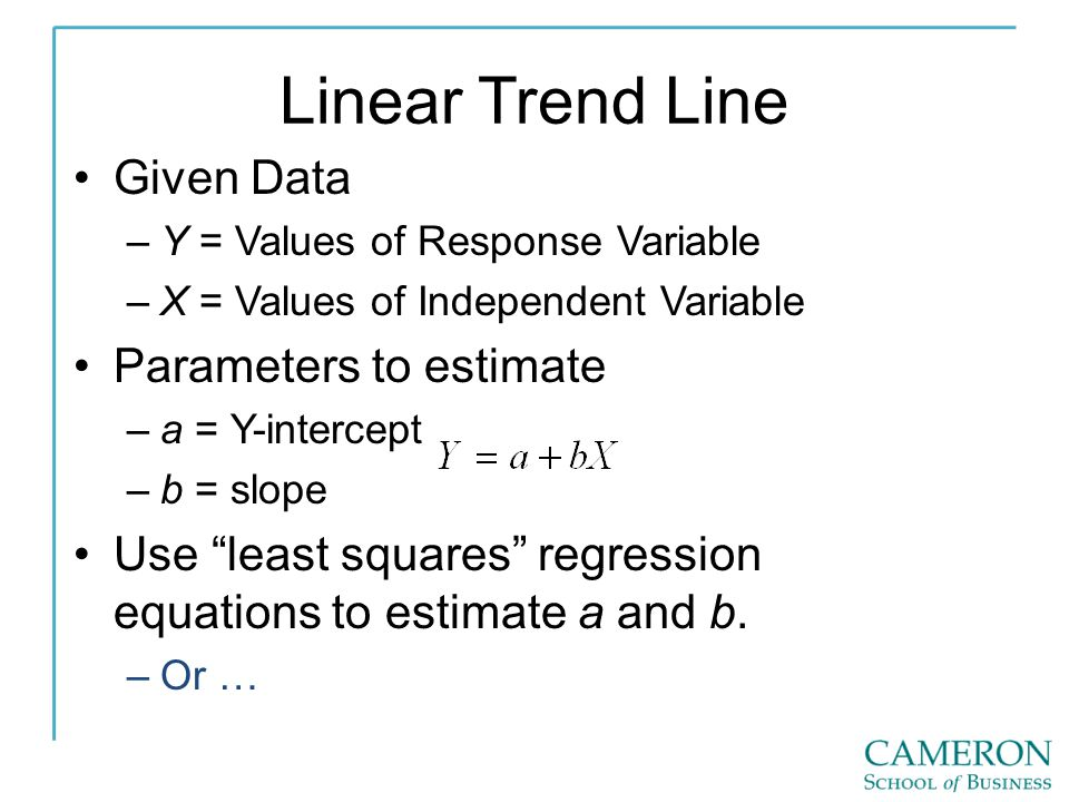 Linear Trend Line Given Data Parameters to estimate