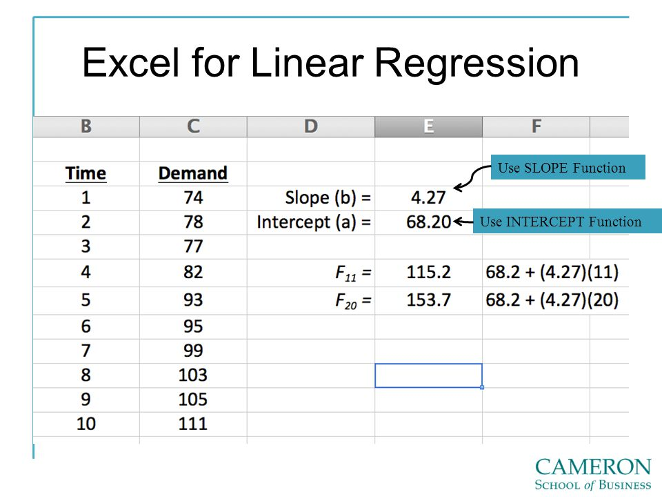 Excel for Linear Regression