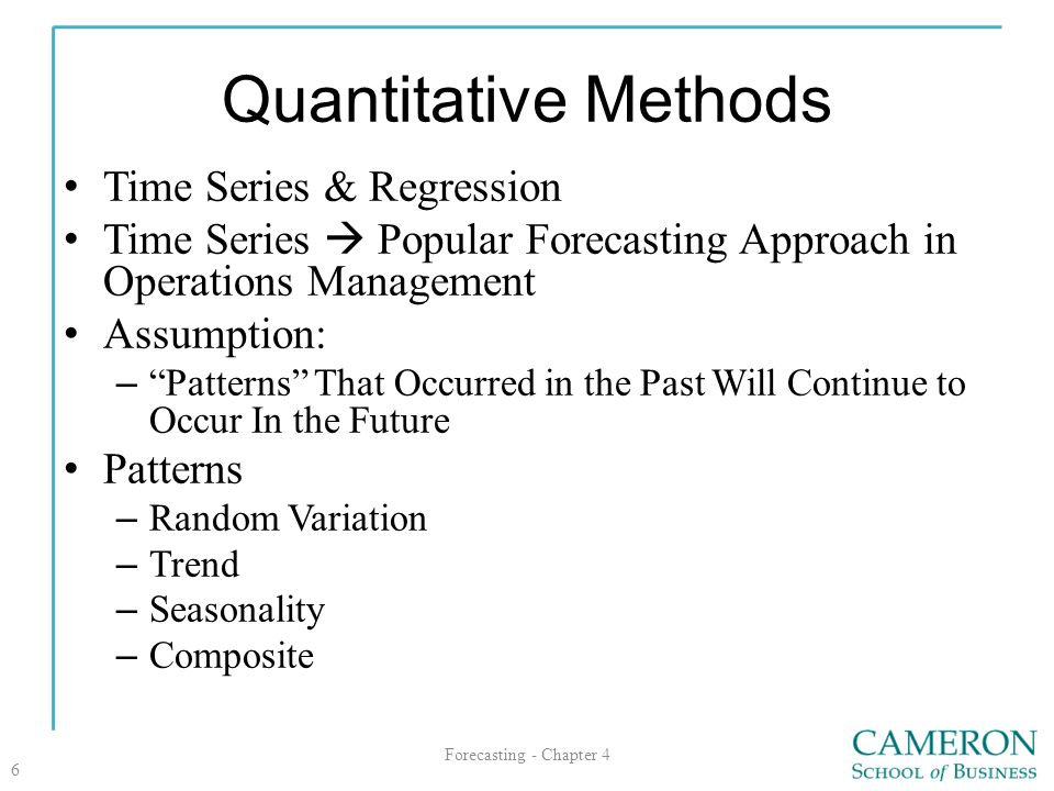 Quantitative Methods Time Series & Regression