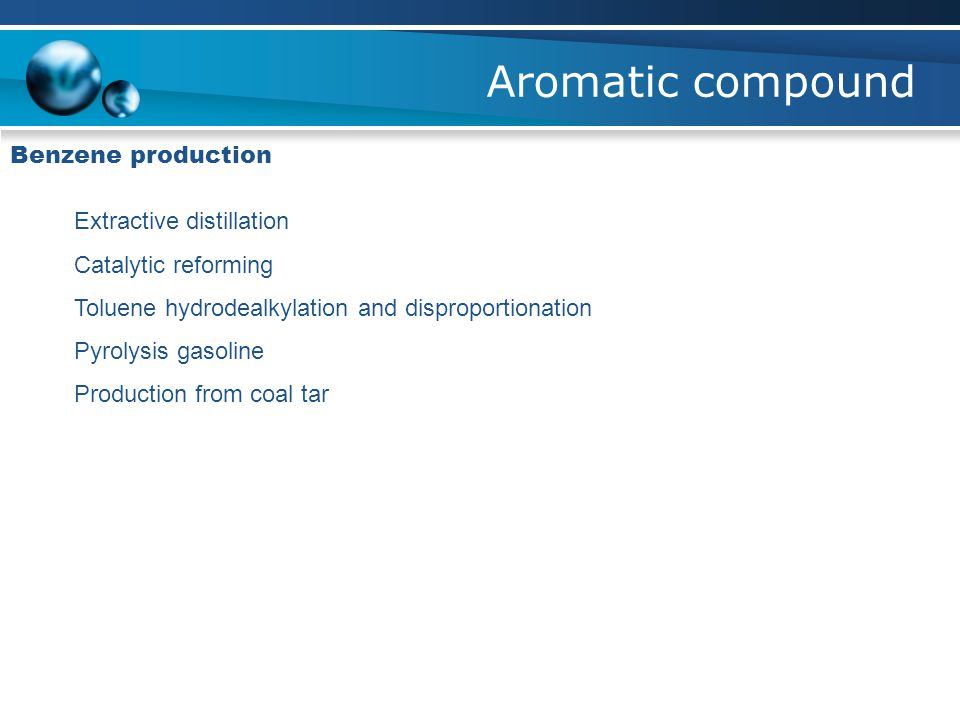Aromatic compound Benzene production Extractive distillation