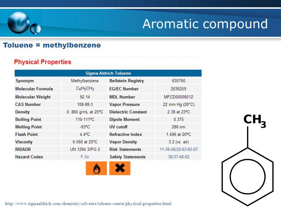 Aromatic compound Toluene = methylbenzene