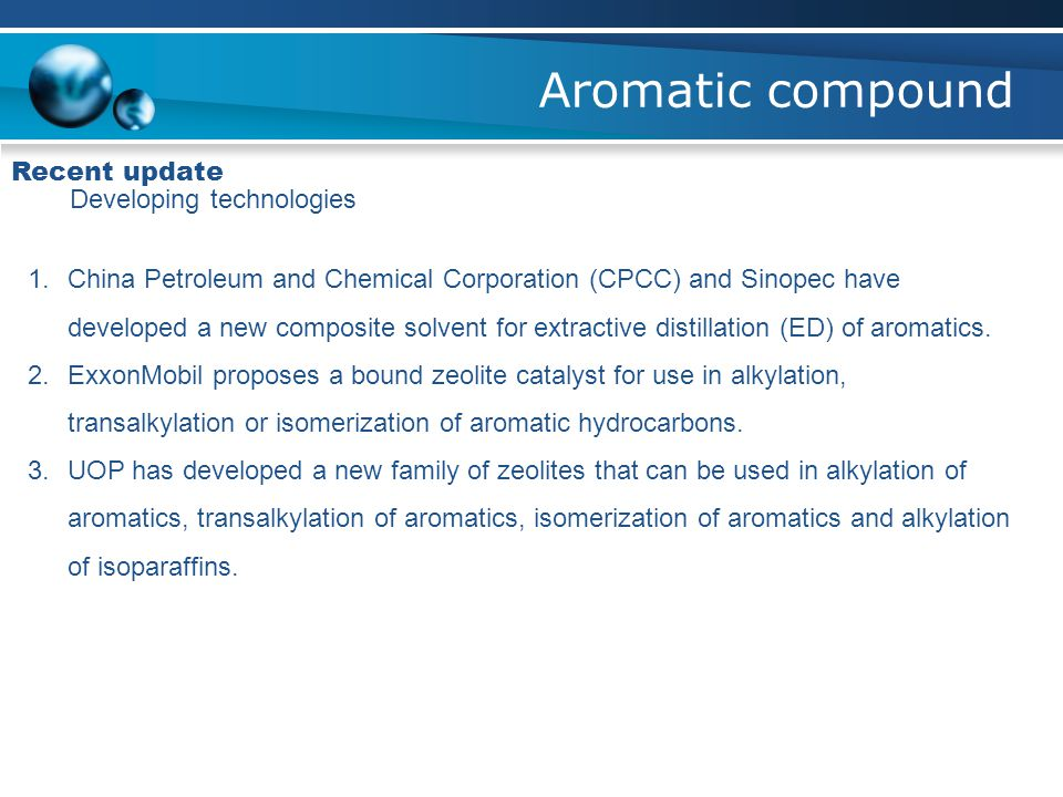 Aromatic compound Recent update Developing technologies