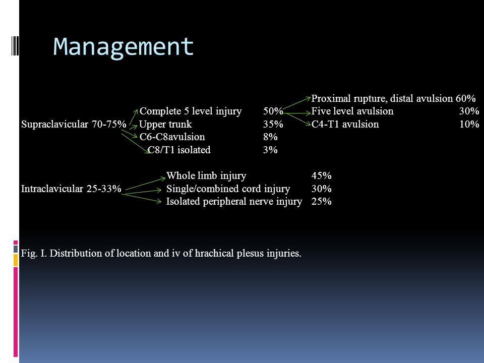Management Proximal rupture, distal avulsion 60%