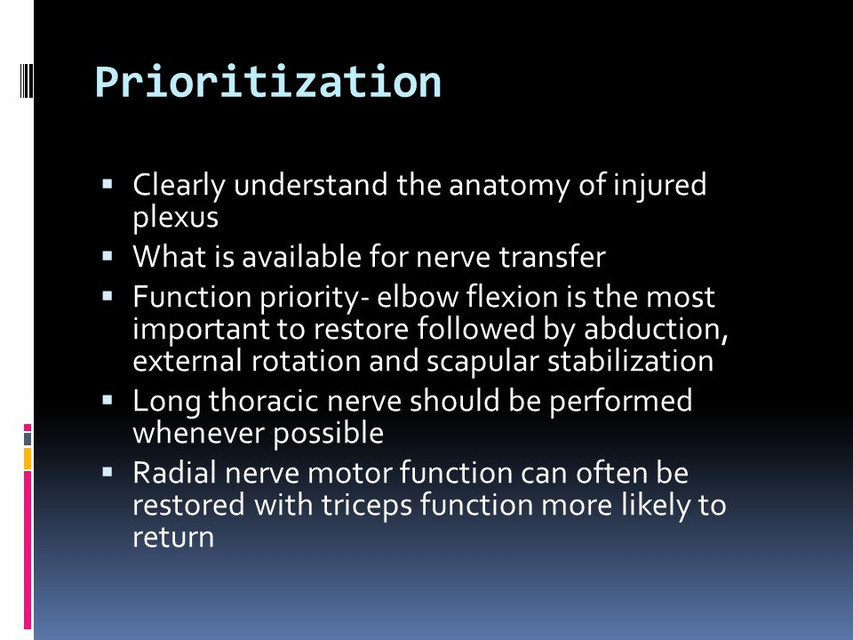 Prioritization Clearly understand the anatomy of injured plexus