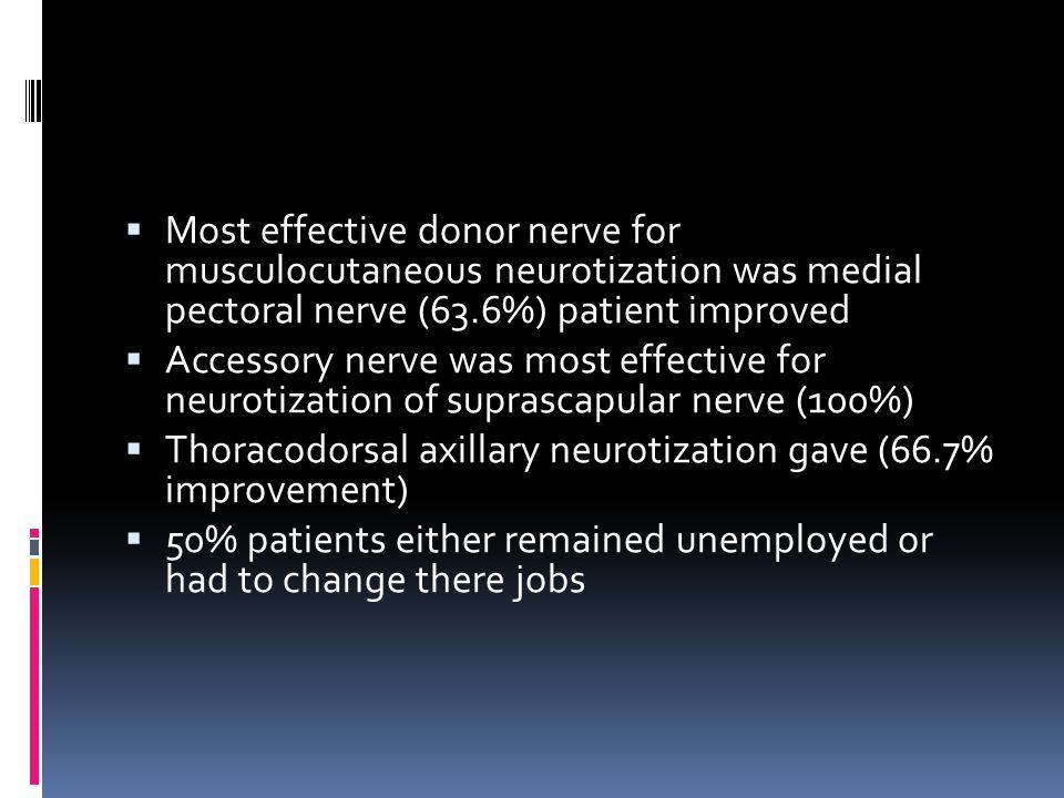Most effective donor nerve for musculocutaneous neurotization was medial pectoral nerve (63.6%) patient improved