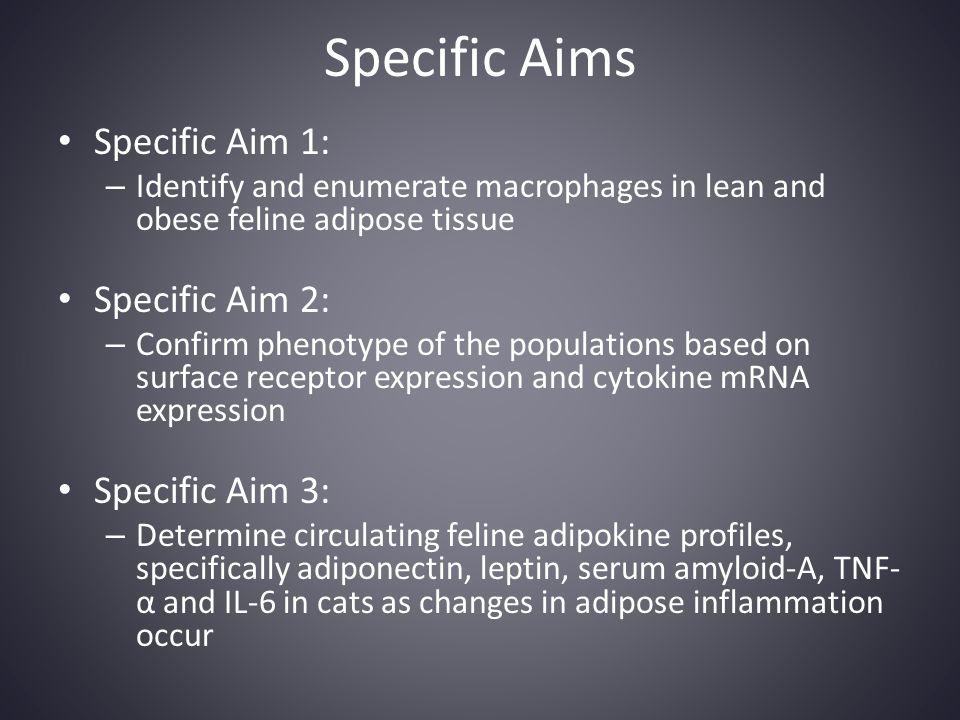 Specific Aims Specific Aim 1: Specific Aim 2: Specific Aim 3: