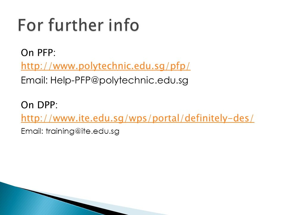 For further info On PFP: