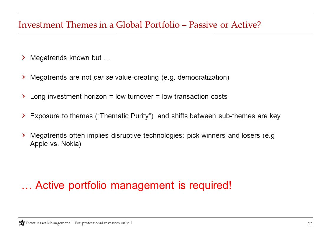 Investment Themes in a Global Portfolio – Passive or Active