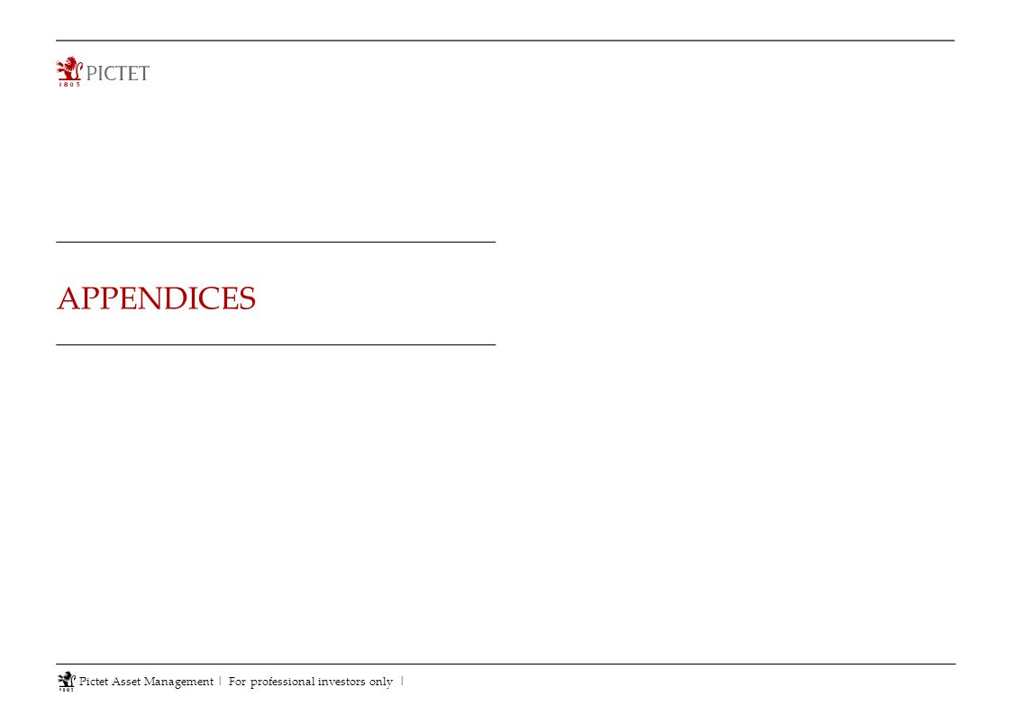 APPENDICES Pictet Asset Management | For professional investors only |