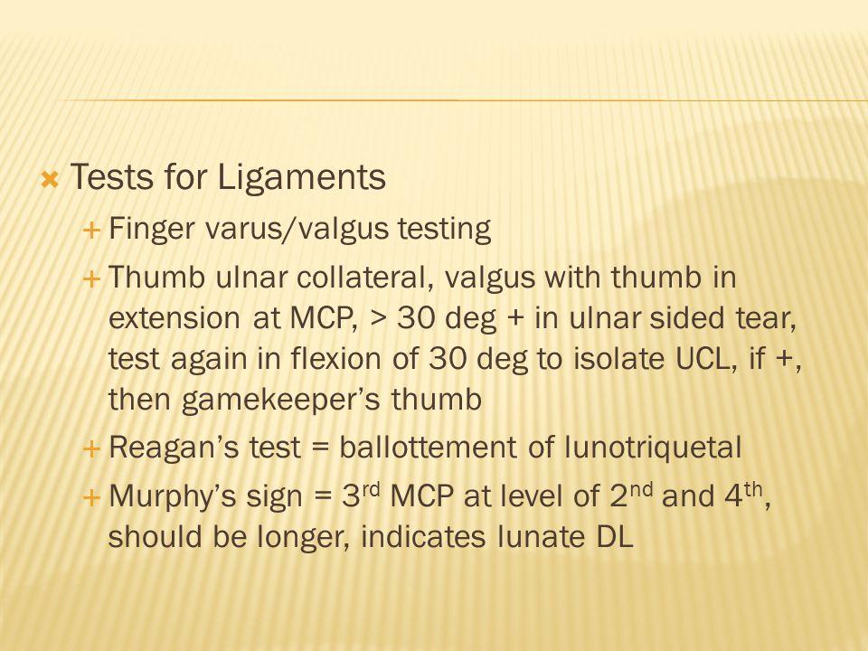 Tests for Ligaments Finger varus/valgus testing