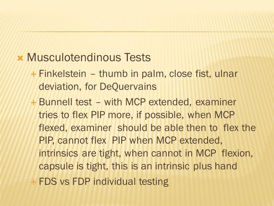 Musculotendinous Tests