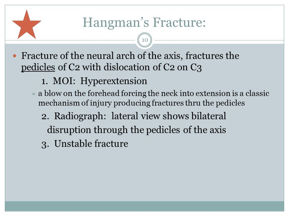 Hangman's Fracture: Fracture of the neural arch of the axis, fractures the pedicles of C2 with dislocation of C2 on C3.