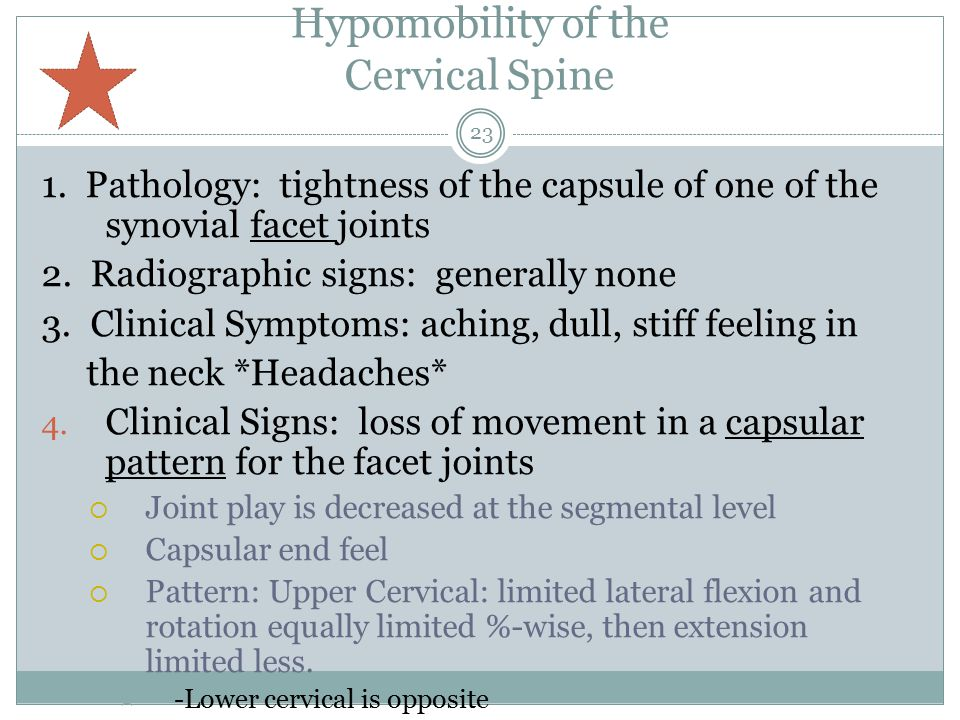 Hypomobility of the Cervical Spine